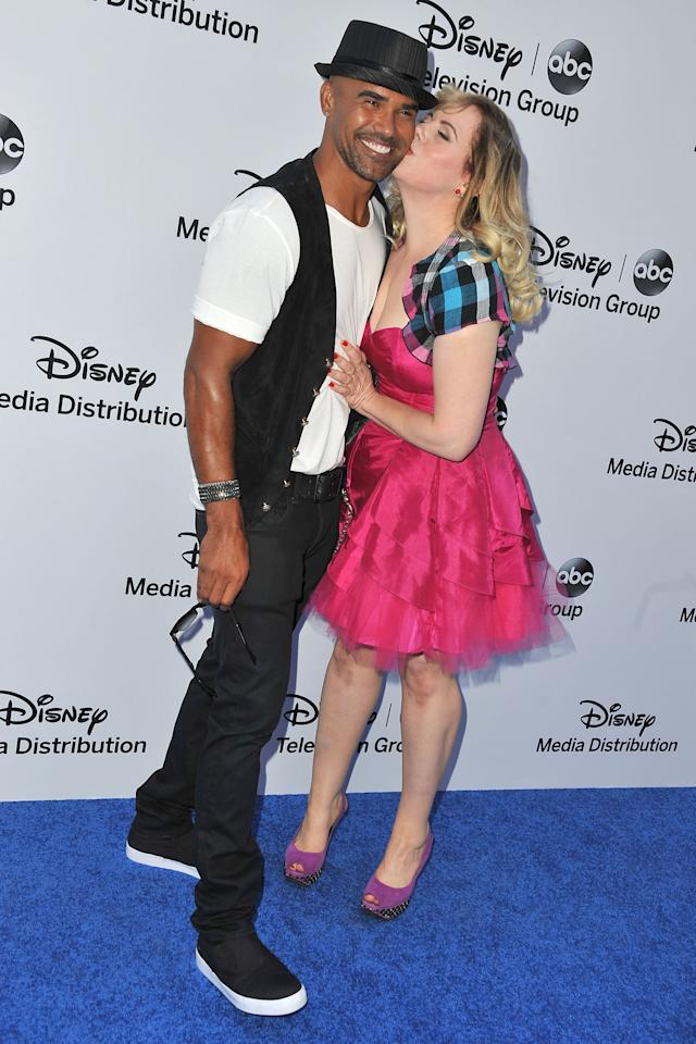 BURBANK, CA - MAY 19:  Actors Shemar Moore and Kirsten Vangsness arrive at the Disney Media Networks International Upfronts at Walt Disney Studios on May 19, 2013 in Burbank, California.  (Photo by Angela Weiss/Getty Images)