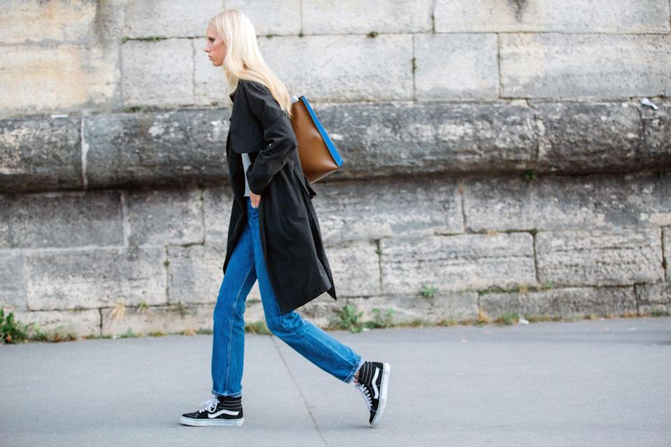 <p>Go skater girl-chic with a pair of full-length jeans and Vans.</p>