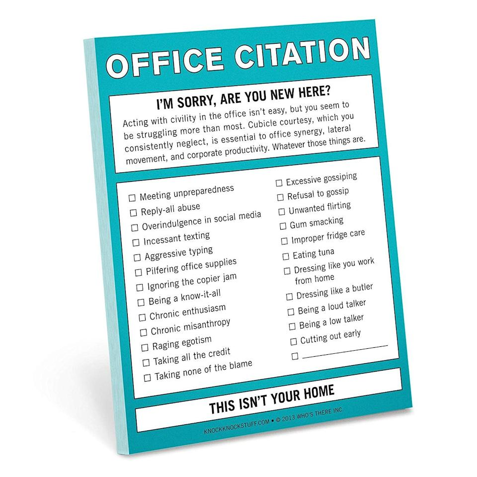 <p>This hysterical <span>Knock Knock Office Citation Nifty Note</span> ($5) is the perfect gift for your work wife.</p>