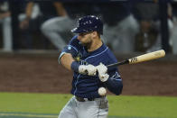 Tampa Bay Rays' Kevin Kiermaier is hit in the wrist by pitch from Houston Astros pitcher Enoli Paredes (60) during the sixth inning in Game 3 of a baseball American League Championship Series, Tuesday, Oct. 13, 2020, in San Diego. (AP Photo/Gregory Bull)