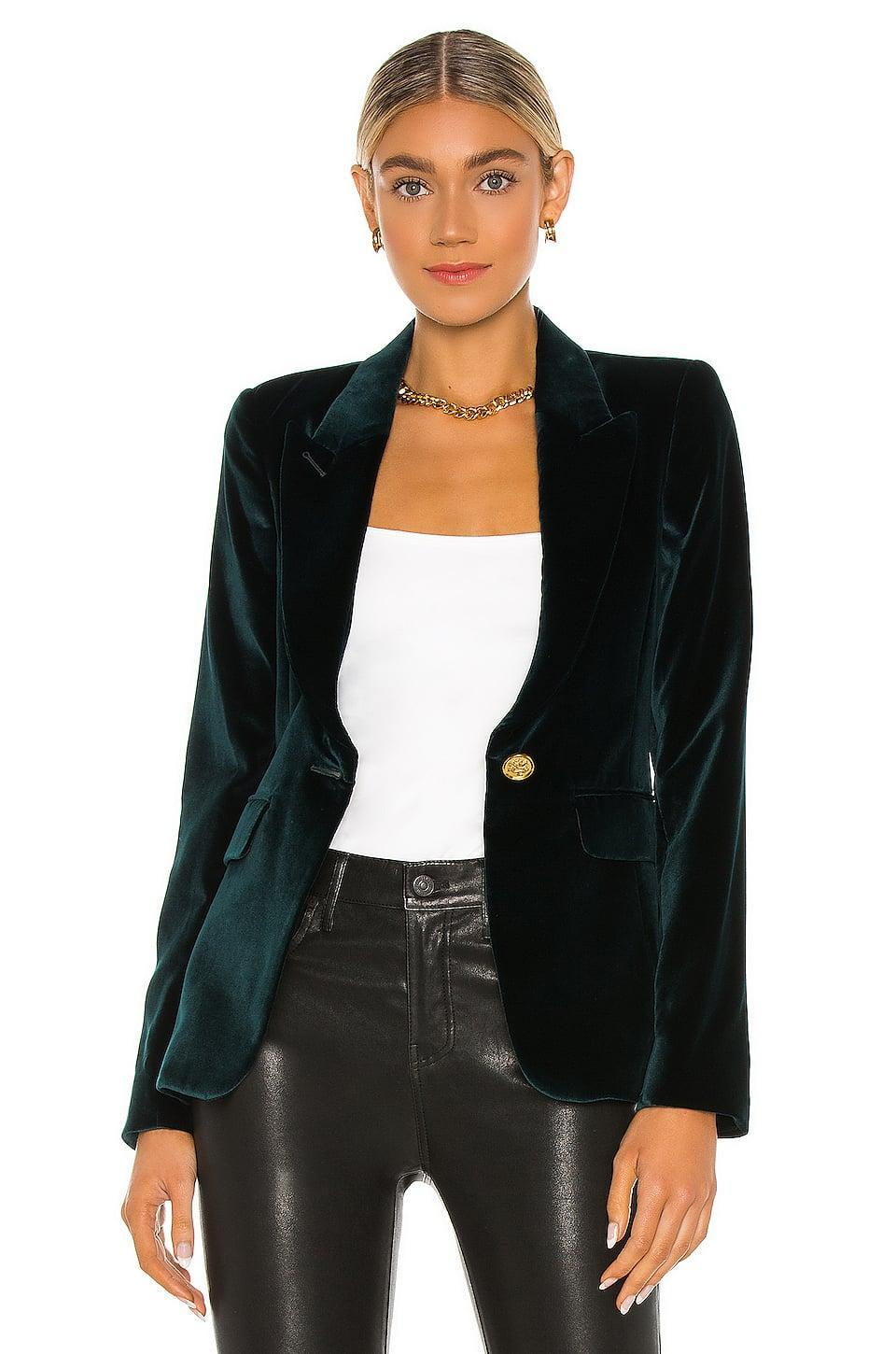 <p>This luxe <span>Smythe Velvet Peaked Lapel Blazer</span> ($795) is going to be the star of the holiday season.</p>