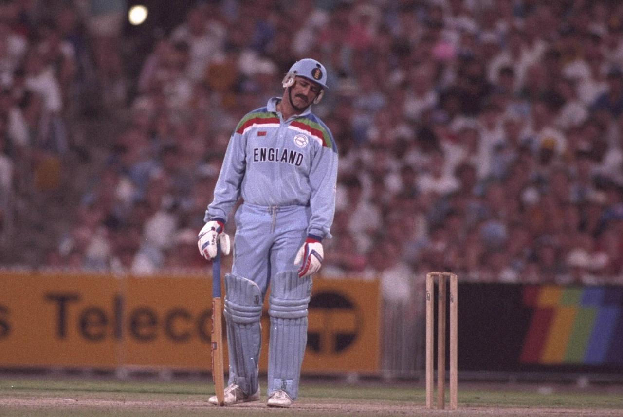 Mar 1992:  Graham Gooch of England is dismissed during the World Cup final against Pakistan played at the MCG in Melbourne.  Pakistan eventually won the match.