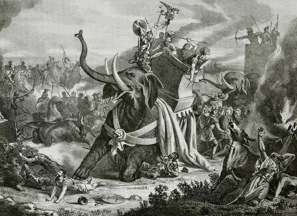 Hamilcar Barca (275-228 BC). Carthaginian general, leader of the Barcid family and father of Hannibal. Expedition in Hispania. Death of Hamilcar Barca in Illici battle (228BC). Engraving, 19th century. (Photo by: PHAS/Universal Images Group via Getty Images)
