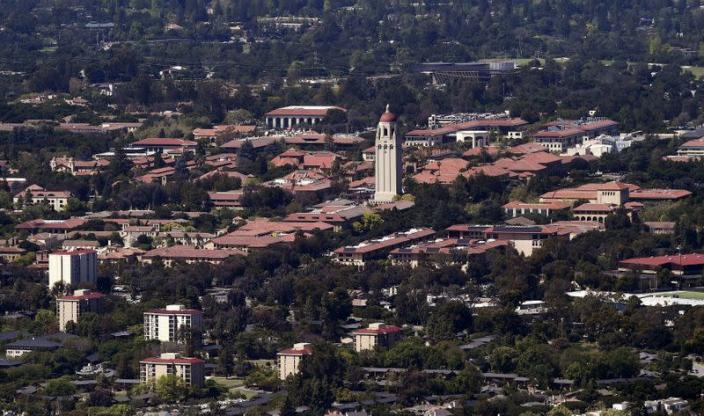 FILE PHOTO: Stanford University's campus is seen in an aerial photo in Stanford
