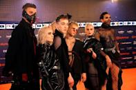 "Contestants Hatari of Iceland pose on the ""Orange Carpet"" during the opening ceremony of the 2019 Eurovision Song Contest in Tel Aviv, Israel May 12, 2019. REUTERS/Amir Cohen"