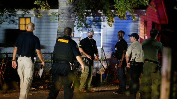 PHOTO: Tuscaloosa Police officers and Tuscaloosa Violent Crimes Unit investigators work at the scene where Tuscaloosa Police Investigator Dornell Cousette, was shot and killed in Tuscaloosa, Ala., Sept. 16, 2019. (Gary Cosby Jr., Tuscaloosa News/AP)