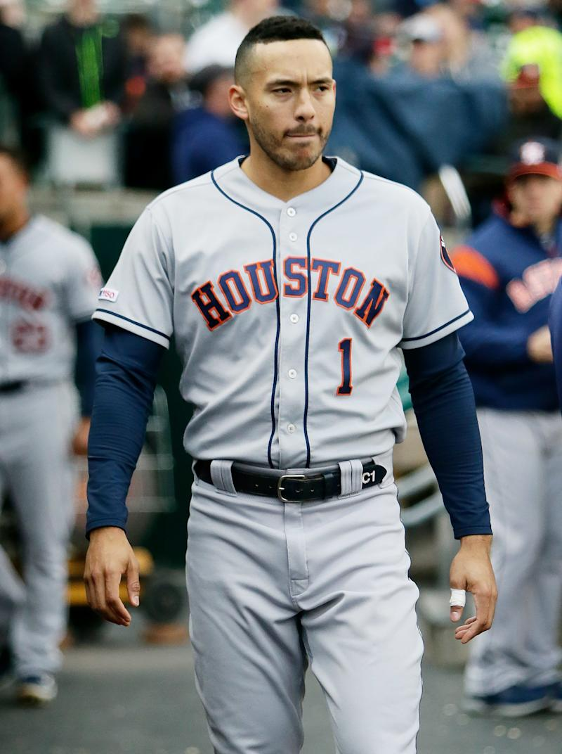 premium selection 6dcba 6b978 Houston Astros Shortstop Carlos Correa Fractures Rib During ...