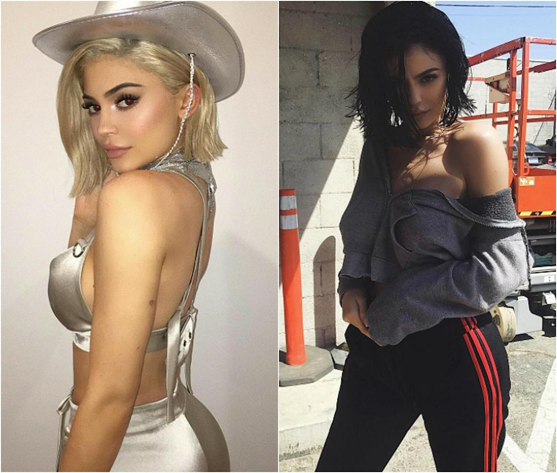 """<p><b>When: April 8, 2017/April 9, 2017 </b> <br /> In one of those 'blink and you missed it' moments, Kylie Jenner was spotted on Instagram channeling a cowgirl with pure blonde locks and a matching hat. """"kowgirl,"""" the blonde captioned next to one stellar pic. Another snap showed the blonde beauty eating tacos while a sneak-peak video showed Kylie twirling for the camera in true Jenner fashion. """"my inner space cowgirl came alive last night,"""" she captioned. In this case blondes might not have more fun, the signature brunette returned to her darker roots a day later. What do you think — are you missing Kylie's lighter locks already? <i> (Photos: Instagram) </i> </p>"""