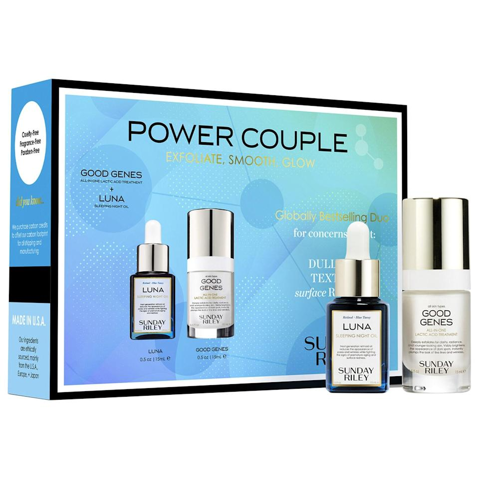 "<h3>Sunday Riley Power Couple</h3><br>Get two Sunday Riley heavyweights — Good Genes and Luna face oil — in one money-saving kit with a value of $103.<br><br><strong>Sunday Riley</strong> Power Couple Advanced Exfoliating and Brightening Routine, $, available at <a href=""https://go.skimresources.com/?id=30283X879131&url=https%3A%2F%2Ffave.co%2F34Idklp"" rel=""nofollow noopener"" target=""_blank"" data-ylk=""slk:Sephora"" class=""link rapid-noclick-resp"">Sephora</a>"