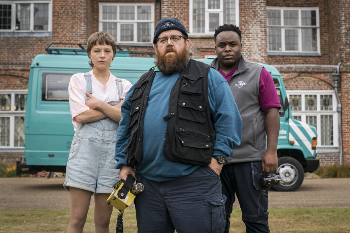 L-R: Emma D'Arcy (Astrid), Nick Frost (Gus), and Samson Kayo (Elton) in <i>Truth Seekers</i>. (Amazon Studios)