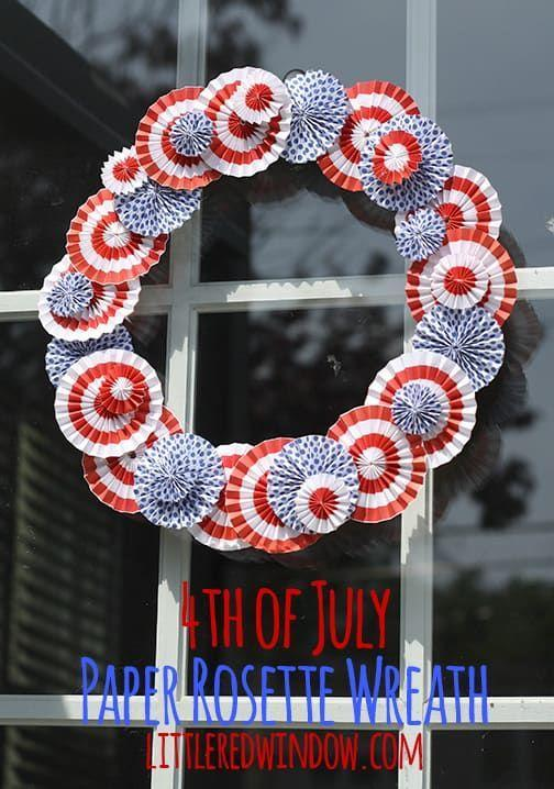 """<p>With the help of some scrapbook paper and cardboard, you can make your own inexpensive 4th of July rosette wreath to hang anywhere in your home. </p><p><strong><em>Get the tutorial from <a href=""""https://littleredwindow.com/4th-of-july-paper-rosette-wreath/"""" rel=""""nofollow noopener"""" target=""""_blank"""" data-ylk=""""slk:Little Red Window"""" class=""""link rapid-noclick-resp"""">Little Red Window</a>. </em></strong></p>"""