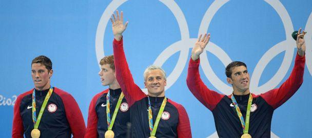 PHOTO: Team USA celebrates winning the gold medal during the medal ceremony of the men's 200m freestyle relay at Olympic Aquatics Stadium on Aug. 9, 2016 in Rio de Janeiro, Brazil. (Jean Catuffe/Getty Images, FILE)