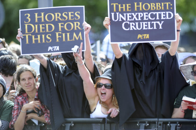 """Protesters against the death of animals during the filming of """"The Hobbit: An Unexpected Journey"""" display banners on the red carpet for the premiere of the movie in Wellington, New Zealand, Wednesday, Nov. 28, 2012. (AP Photo/SNPA, Ross Setford) NEW ZEALAND OUT"""