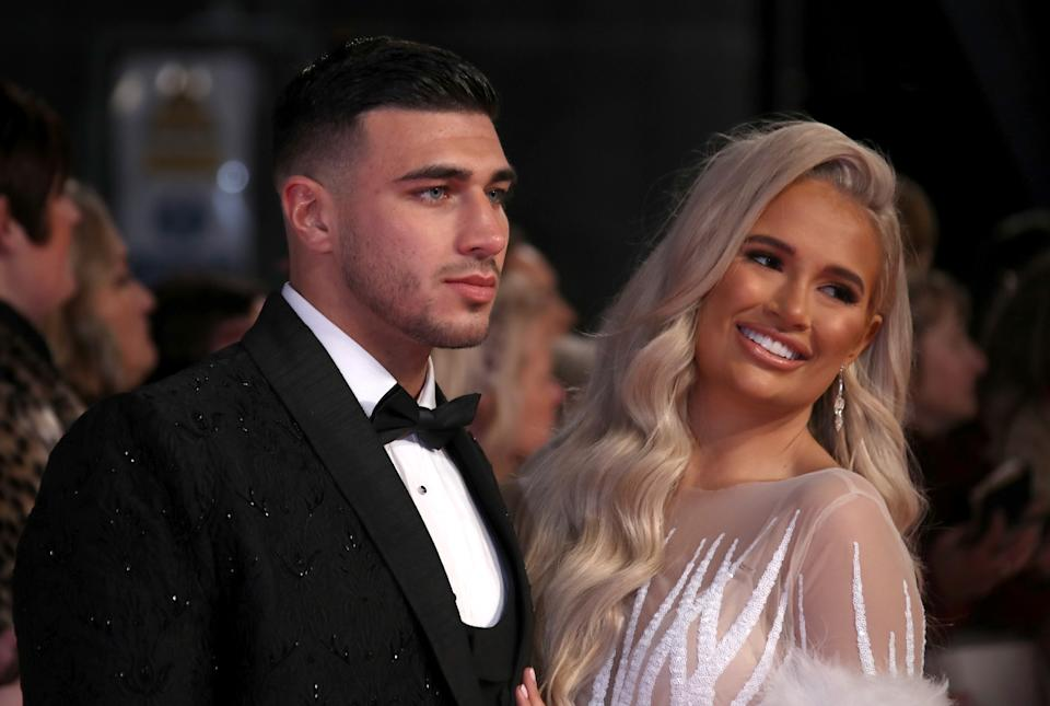 LONDON, ENGLAND - JANUARY 28: Tommy Fury and Molly-Mae Hague attend the National Television Awards 2020 at The O2 Arena on January 28, 2020 in London, England. (Photo by Mike Marsland/WireImage)
