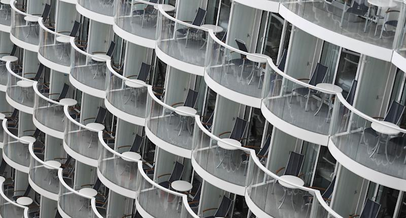 Balcony on Royal Caribbean Symphony of the Seas shown after an Australian passenger fell overboard and died.
