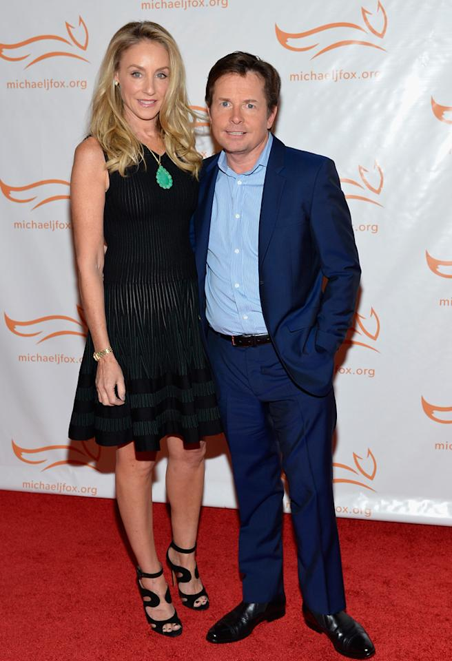 NEW YORK, NY - NOVEMBER 10: Tracy Pollan and Michael J. Fox on the red carpet at the 2012 A Funny Thing Happened On The Way To Cure Parkinson's event at The Waldorf=Astoria on November 10, 2012 in New York City benefitting The Michael J. Fox Foundation for Parkinson's Research. (Photo by Mike Coppola/Getty Images for the Michael J. Fox Foundation for Parkinson's Research)