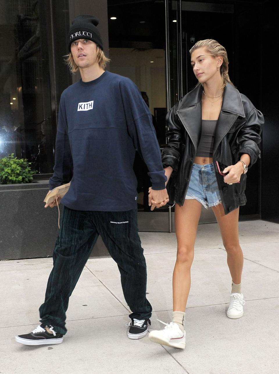 Hailey Baldwin wearing the Adidas trainers in September 14, 2018. [Photo: Getty]