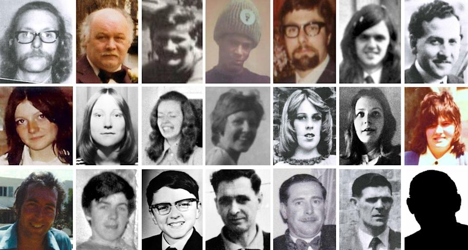 Birmingham Pub bombing victims (top row, left to right) Michael Beasley, 30, Stan Bodman, 47, James Craig, 34, Paul Davies, 17, Trevor Thrupp, 33, Desmond Reilly, 20 and James Caddick, 40, (second row, left to right) Maxine Hambleton, 18, Jane Davis, 17, Maureen Roberts, 20, Lynn Bennett, 18, Anne Hayes, 18, Marilyn Nash, 22 and Pamela Palmer, 19, (bottom row, left to right) Thomas Chaytor, 28, Eugene Reilly, 23, Stephen Whalley, 21, John Rowlands, 46, John 'Cliff' Jones, 51, Charles Gray, 44, and Neil Marsh, 16 (no picture available). West Midlands Police said 65-year-old man has been arrested in connection with the murders of 21 people in the 1974 pub bombings in Birmingham (Birmingham Inquests/PA) (PA Media)