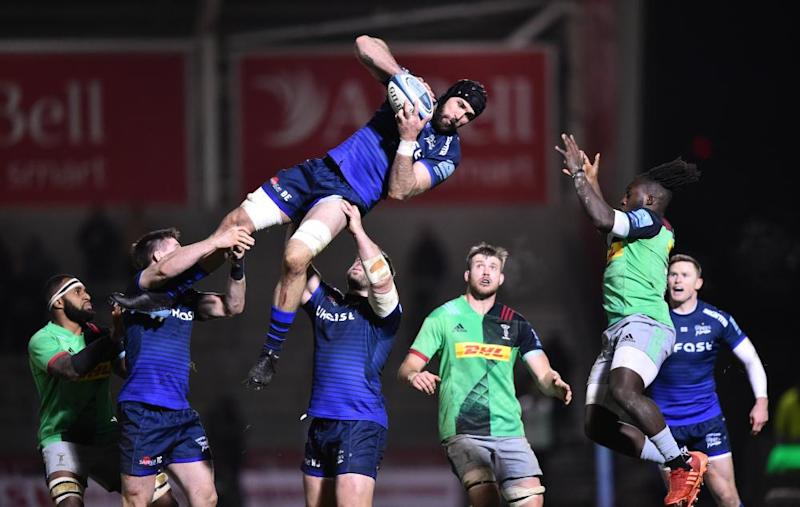 Bryn Evans of Sale wins a line-out.