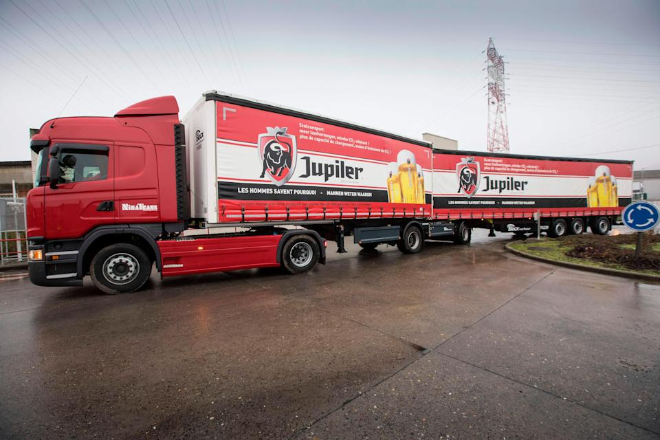 A super lorry (or Longer Heavier Vehicle, LHV) truck, produced by Ninatrans, leaves the Jupille brewery site of brewery group Anheuser-Busch InBev on December 20, 2017. / AFP PHOTO / Belga / KOEN BLANCKAERT / Belgium OUT        (Photo credit should read KOEN BLANCKAERT/AFP/Getty Images)