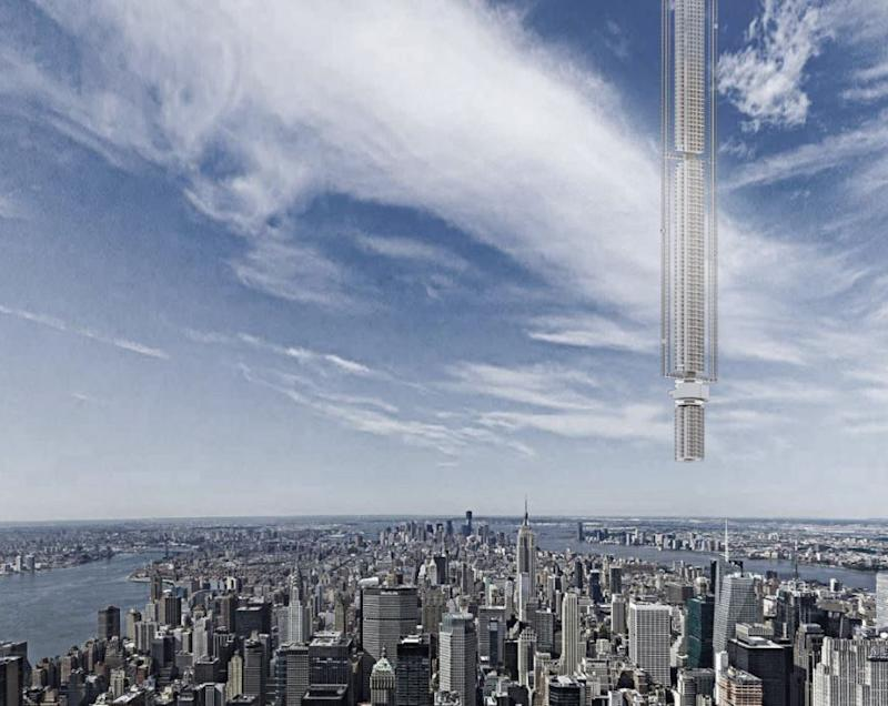 Analemma Tower would be hung using reinforced cables from a comet 31,068 miles above Earth: Clouds Architecture Office