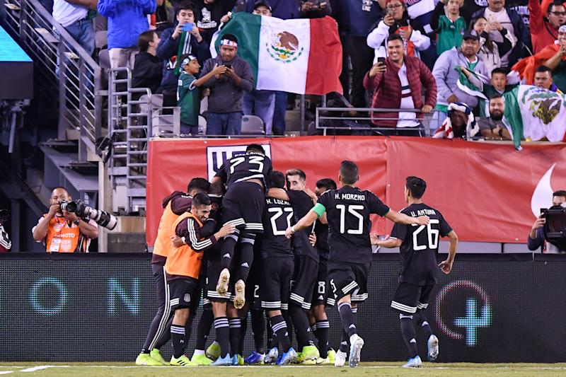 Sep 6, 2019; East Rutherford, NJ, USA; Mexico players celebrate after a goal by midfielder Erick GutiŽrrez (25) against the United States during the second half during an international friendly soccer match at MetLife Stadium. Mandatory Credit: Dennis Schneidler-USA TODAY Sports