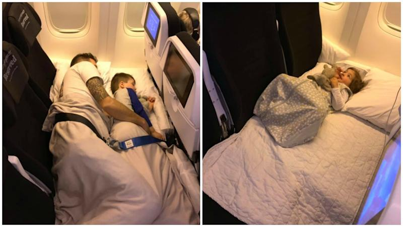 Blogger Adele Barbaro has shared how Air New Zealand's Skycouch could be a game changer for travelling families. Photo: Facebook/TheRealMumma