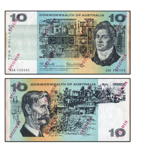 A $10 'specimen' note from 1966 selling for $4,500. Source: M.R Roberts Wynyard Coins.