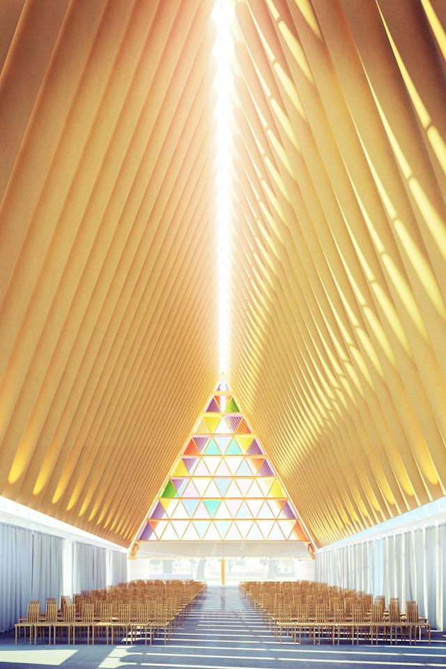 UNSPECIFIED - UNDATED: In this handout illustration provided by Christchurch Cathedral, a view of the new cardboard cathedral designed by Japanese architect Shigeru Ban is unveiled on April 22, 2012 by Christchurch Cathedral. The temporary structure, which also uses timber, steel and a concrete base alongside the cardboard tubes, will accommodate 700 patrons while a new permanent cathedral is built. The 2011 Christchurch earthquake destroyed the spire and part of the tower of the original George Gilbert Scott-designed catherdral, leaving only the lower half of the tower standing, and the decision to demolish and rebuild was announced in March this year due to the prohibitive cost of repairing the original. This was estimated to be NZD100 million, compared to the transient cardboard version expected to cost NZD5 million, and to be completed ready for the end 2012.  (Illustration by Christchurch Cathedral via Getty Images)