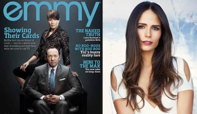 Kevin Spacey and Robin Wright from 'House of Cards' on the cover of EMMY magazine (left); 'Dallas' star Jordana Brewster, also from the new issue (right) -- Emmy Magazine