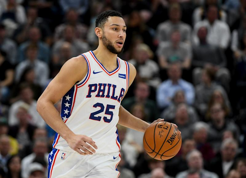 Ben Simmons suffered a mild shoulder sprain against the Jazz. (Alex Goodlett/Getty)