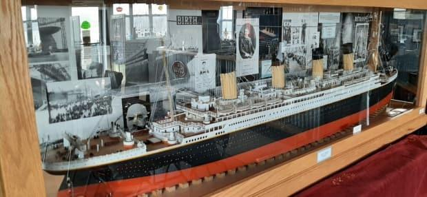 Ray Johnson's model of the Titanic is on display at Route 66 Diner & Pub in Carbonear. (Submitted by Pauline Yetman - image credit)