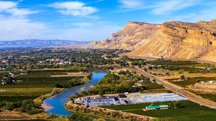 View of Grand Junction, Colorado With the Colorado River - Image.