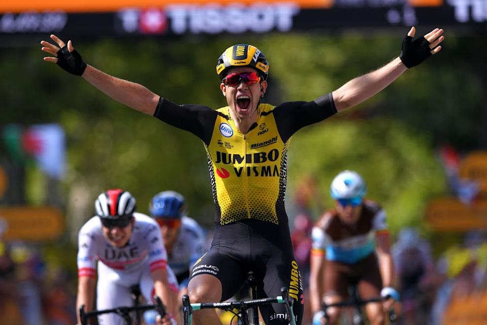 Jumbo-Visma's Wout van Aert sprints to victory on stage 10 of the 2019 Tour de France