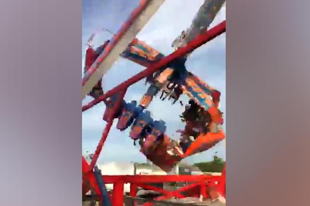 <p>An image taken from video, a swinging and spinning amusement park ride called the Fire Ball broke apart on the opening day of the Ohio State Fair on Wednesday, June 27, 2017. (KTRK-Houston) </p>