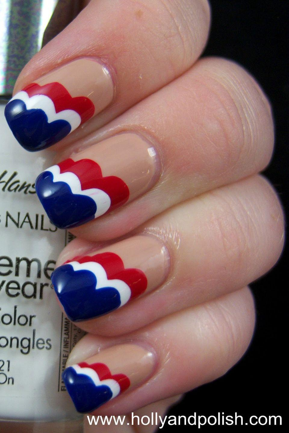 """<p>Start with a <a href=""""https://www.goodhousekeeping.com/beauty/nails/tips/g1627/nude-manicure-nail-art-upgrades/"""" rel=""""nofollow noopener"""" target=""""_blank"""" data-ylk=""""slk:nude base"""" class=""""link rapid-noclick-resp"""">nude base</a> for this manicure for a more demure vibe — and then mix in America's favorite hues for a splash of preppy patriotism.</p><p><a class=""""link rapid-noclick-resp"""" href=""""https://www.amazon.com/OPI-Nail-Lacquer-Samoan-Sand/dp/B004223VIK/?tag=syn-yahoo-20&ascsubtag=%5Bartid%7C10055.g.1278%5Bsrc%7Cyahoo-us"""" rel=""""nofollow noopener"""" target=""""_blank"""" data-ylk=""""slk:SHOP NUDE POLISH"""">SHOP NUDE POLISH</a></p><p><a href=""""http://www.hollyandpolish.com/2012/07/american-cloud-nails.html"""" rel=""""nofollow noopener"""" target=""""_blank"""" data-ylk=""""slk:See more on Holly & Polish »"""" class=""""link rapid-noclick-resp""""><em>See more on Holly & Polish »</em></a></p>"""