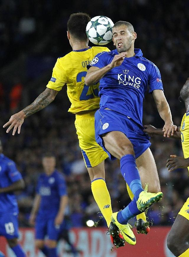 Leicester City's Algerian striker Islam Slimani (R) earned the nickname 'The Dragon Slayer' for his scoring feats against Porto with former club Sporting Lisbon (AFP Photo/Ian Kington)