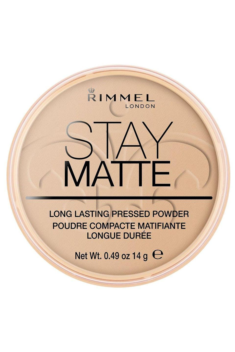 """<p><strong>Rimmel</strong></p><p>amazon.com</p><p><strong>$3.99</strong></p><p><a href=""""https://www.amazon.com/dp/B004M9L0WW?tag=syn-yahoo-20&ascsubtag=%5Bartid%7C10049.g.32729898%5Bsrc%7Cyahoo-us"""" rel=""""nofollow noopener"""" target=""""_blank"""" data-ylk=""""slk:Shop Now"""" class=""""link rapid-noclick-resp"""">Shop Now</a></p><p>IDK about you, but my T-zone (and, TBH, the rest of my face...) is basically an oil slick by the time 1PM comes around. Don't worry, though, because this drugstore setting powder puts in the work. Just tap it on in the morning—<strong>not only will it prevent a midday oil attack,</strong> but it'll also help smooth out the appearance of your <a href=""""https://www.cosmopolitan.com/style-beauty/beauty/news/a36360/ways-to-make-your-pores-smaller/"""" rel=""""nofollow noopener"""" target=""""_blank"""" data-ylk=""""slk:pores"""" class=""""link rapid-noclick-resp"""">pores</a>.</p>"""