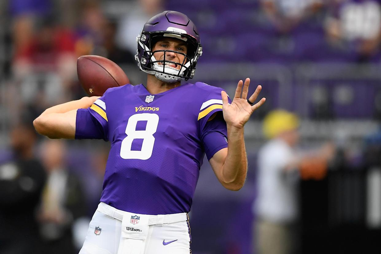 """<a class=""""link rapid-noclick-resp"""" href=""""/nfl/teams/min"""" data-ylk=""""slk:Minnesota Vikings"""">Minnesota Vikings</a> quarterback <a class=""""link rapid-noclick-resp"""" href=""""/nfl/players/25812/"""" data-ylk=""""slk:Kirk Cousins"""">Kirk Cousins</a> has filed a trademark on the phrase """"You Vike That!""""(Getty Images)"""