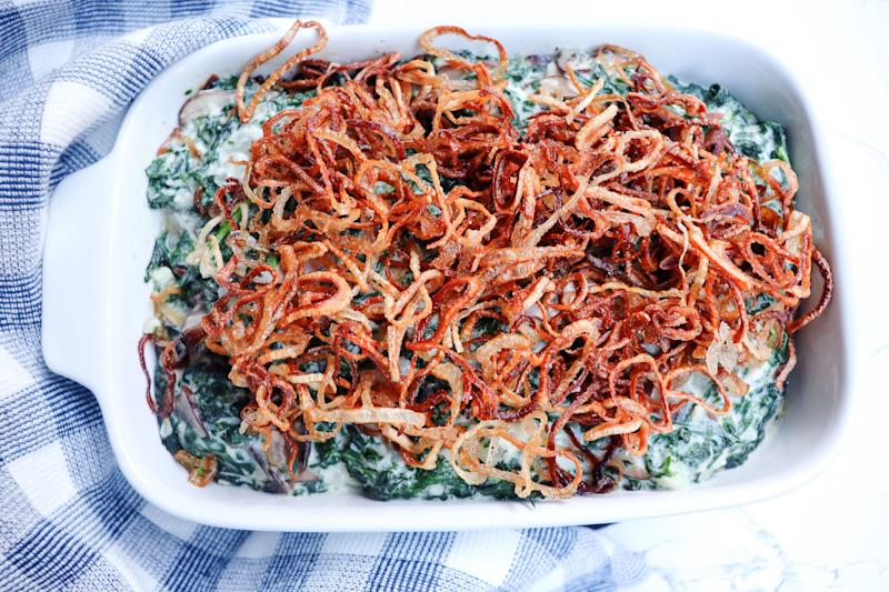 This dish still has all the components of the green bean casserole you grew up with, but with an elevated feel.  (Photo: Jeremy Paige)