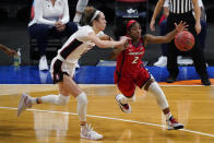 FILE - In this April 4, 2021, file photo, Arizona guard Aari McDonald (2) drives past Stanford guard Lexie Hull during the second half of the championship game in the NCAA women's college basketball tournament Final Four at the Alamodome in San Antonio. Atlanta chose McDonald in the WNBA draft Thursday, April 15. (AP Photo/Eric Gay, File)