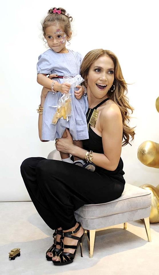 """Jennifer Lopez hit up the the Gucci Children's Collection launch in Beverly Hills with her twins (and Gucci spokesbabies) 2-year-old Emme (pictured) and Max. At the event, Gucci donated $1 million to UNICEF's Schools for Africa initiative and $50,000 to Lopez's charity, the Maribel Initiative. """"It's exactly why I'm excited to be a part of this,"""" J.Lo recently said. """"Now there are two Gucci spokesbabies for a beautiful cause!"""" Stefanie Keenan/<a href=""""http://www.wireimage.com"""" target=""""new"""">WireImage.com</a> - November 20, 2010"""