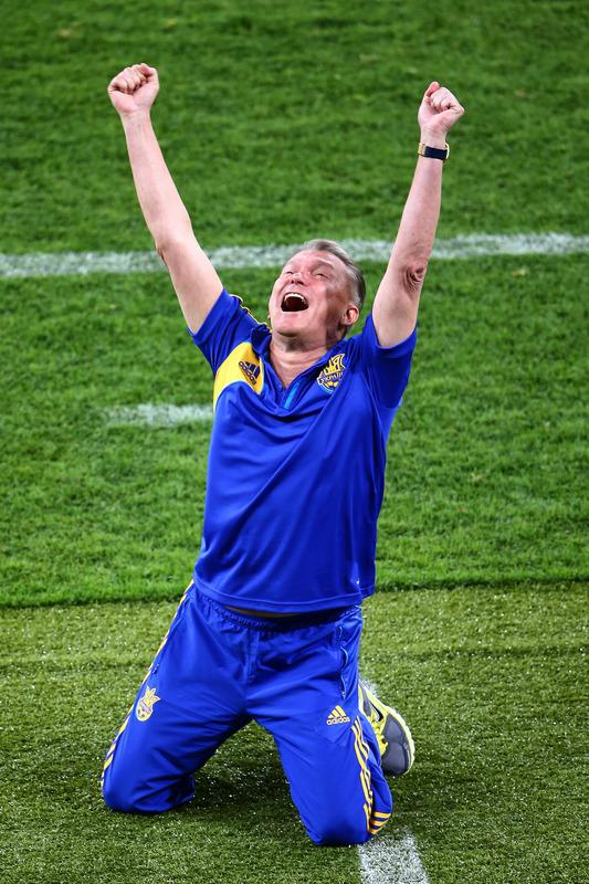 KIEV, UKRAINE - JUNE 11:  Head Coach Oleh Blokhin of Ukraine celebrates victory during the UEFA EURO 2012 group D match between Ukraine and Sweden at The Olympic Stadium on June 11, 2012 in Kiev, Ukraine.  (Photo by Martin Rose/Getty Images)