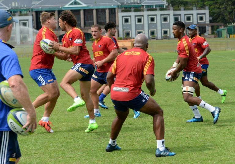 The Western Stormers players train in Singapore on March 21, 2017, ahead of their Super Rugby match against the Sunwolves