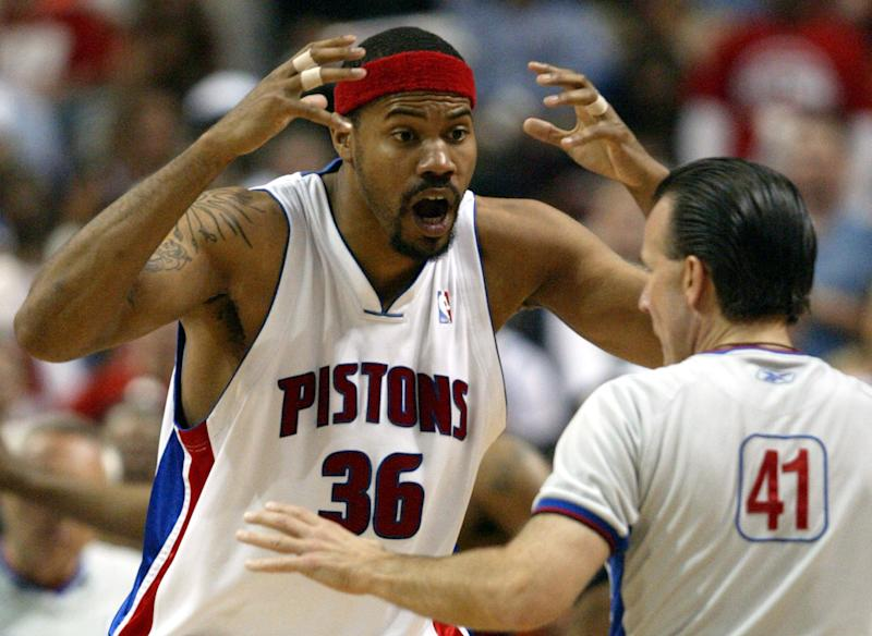 FILE- In this May 17, 2006, file photo, Detroit Pistons forward Rasheed Wallace argues with referee Ken Mauer during the fourth quarter against the Cleveland Cavaliers in Game 5 of their NBA playoffs second-round series at the Palace in Auburn Hills, Mich. The New York Knicks signed Wallace on Wednesday, Oct. 3, 2012. Wallace, a four-time All-Star,  is ending a two-year retirement.  (AP Photo/Paul Sancya, File)