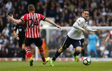 Britain Soccer Football - Tottenham Hotspur v Southampton - Premier League - White Hart Lane - 19/3/17 Tottenham's Vincent Janssen in action with Southampton's Jack Stephens  Reuters / Eddie Keogh Livepic
