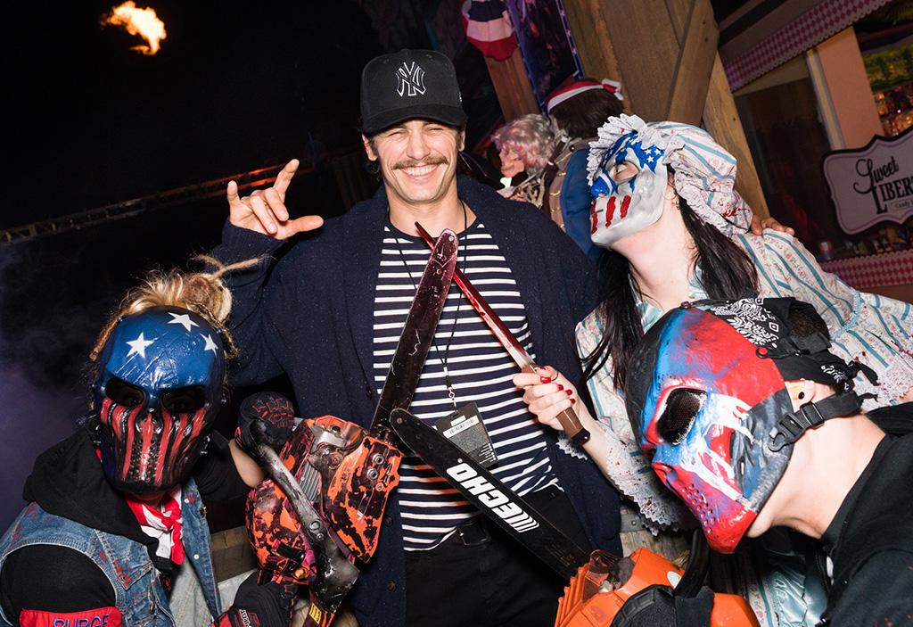 <p>James Franco is always up for anything, and looked like he was in his element while hanging with some peeps from the Purge scare zone (based on <i>The Purge: Election Year</i>) at Universal Studios' Halloween Horror Nights. (Photo: Mike Danenberg/Universal Studios Hollywood) </p>