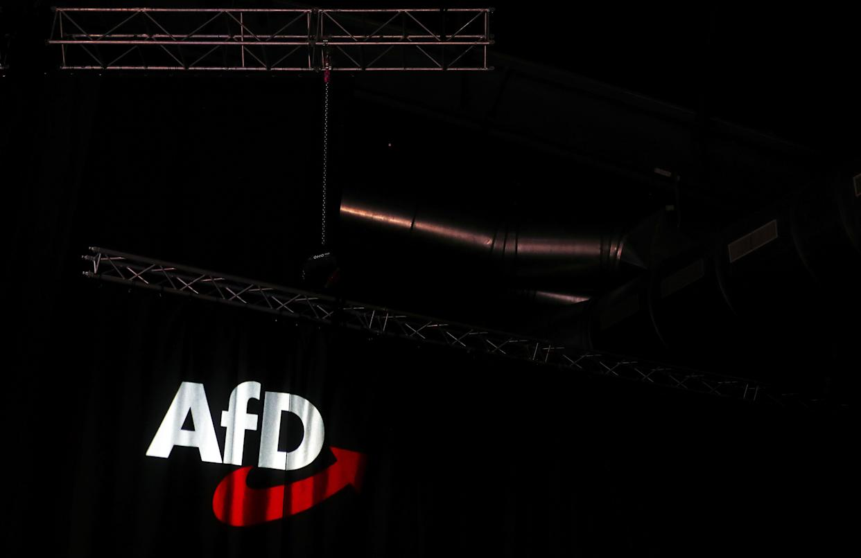 The AfD logo is pictured during the congress of the Alternative for Germany (AfD) far-right party on November 30, 2019 in Braunschweig, in north-central Germany. (Photo by Ronny Hartmann / AFP) (Photo by RONNY HARTMANN/AFP via Getty Images)