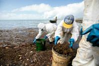 Workers continue to clean up two months after an oil spill threatened Mauritius natural wonders, sparking outrage