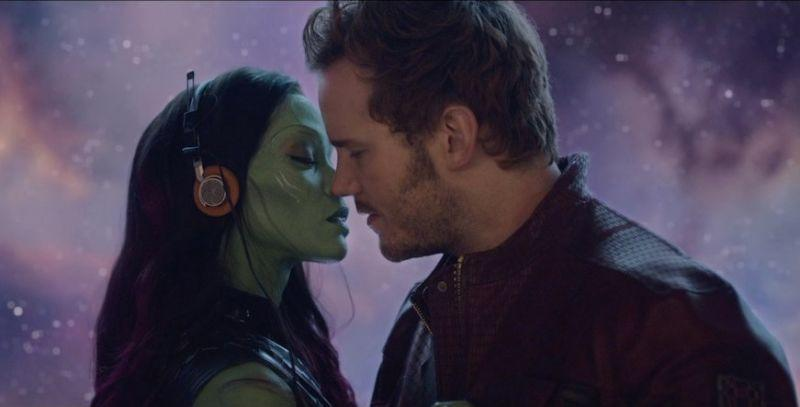 Star-Lord's first mix tape working its magic on Gamora in the original 'Guardians of the Galaxy' (credit: Marvel Studios)